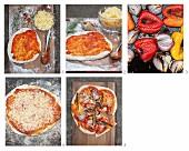 Gemüsepizza mit Paprika, Auberginen und Zwiebeln zubereiten