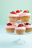 Strawberry Cupcakes on a Tiered Cupcake Holder