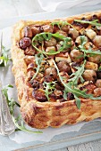 Puff pastry tart with feta cheese and shallots