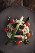 Salmon fillet on a bed of risotto