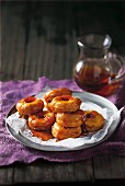 Sweet potato doughnuts with maple syrup