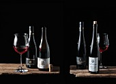 Vier Flaschen Spätburgunder: Meyer-Näkel, Ahr - Knipser, Pfalz - Ökonomierat Rebholz, Pfalz- Jürgen Ellwanger, Württemberg