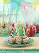 Cake pops and toffee apples for a party