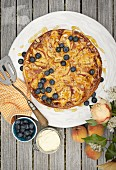 Peach tart with blueberries (seen from above)
