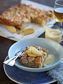 Pear crumble with vanilla sauce