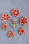 Iced, flower-shaped biscuits