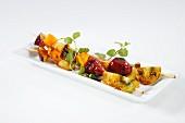 Glazed fruit skewers