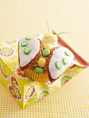 A cheerful butterfly cupcake