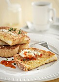 French toast with cheese and chilli sauce