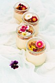 Panna cotta with Amaretti crumbs and edible flowers
