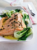 Salmon fillet with steamed bok choy, tarragon and capers