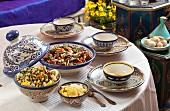 Verschiedene Gerichte aus Marokko und Tunesien