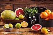 Various Asian citrus fruits