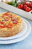 Cheese and tomato kadaif quiche
