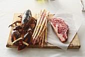 White asparagus, lobster and entrecote steak
