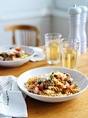 Fusilli with meatballs and tomatoes