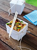 Soba noodle and miso salad for a picnic