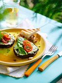 Grilled portobello mushrooms with toast