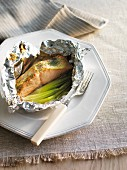Salmon fillet in foil with spring onions