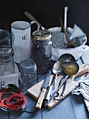 Various utensils for preserving food
