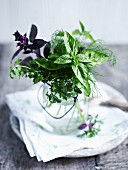 A bouquet of herbs in a glass of water