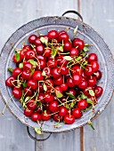 Sour cherries in a colander