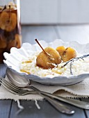 Rice pudding with cinnamon apples