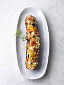Mediterranean-style stuffed courgette (vegetarian)