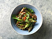 Flash fried bok choy and green asparagus (vegan)