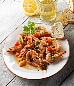 Prawns with tomatoes and garlic in olive oil