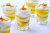 Spicy layered canapés with cream cheese, olive oil and orange zest