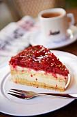 A piece of raspberry tart