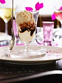 An ice cream sundae with whipped cream, espresso, Amaretti and hazelnut ice cream