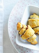 Rugelach pastries with a chocolate and nut filling