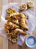 Oven-roasted spicy chicken with chilli, lime and garlic