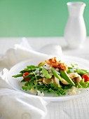 Mixed leaf salad with avocado, green asparagus, rocket, chicken and bacon