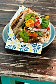 Garden donner with grilled chicken and garden vegetables