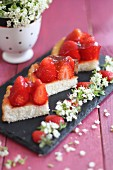 Three slices of strawberry cake with gelatine