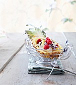 Pineapple filled with raspberries and quark