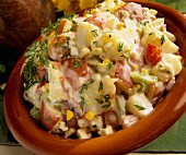 Potato salad made with red potatoes (close-up)