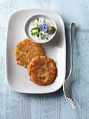Vegetarian potato oatcakes with wild garlic tzatziki