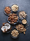 An arrangement of various nuts and seeds