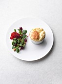 Comte soufflé with beetroot crisps and lamb's lettuce
