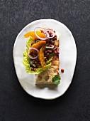 Vegan lentil salad with red onions and orange fillets