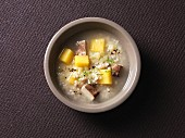 Hearty barley soup with turnips, Tyrolean grey cheese and smoked tofu
