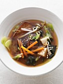 Vegan kombu broth with chiitake mushrooms, pointed cabbage and silken tofu