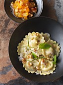 Vegetarian Gorgonzola ravioli with oriental yellow plum chutney