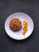A hazelnut and spelt cake with mango chutney