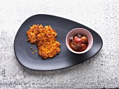 Sweet potato cakes with gooseberry compote