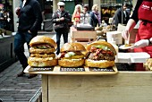 Hamburgers in a street shop at a market (Covent Garden, London)